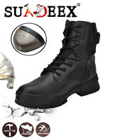 Mens Leather Indestructible Safety Steel Toe Cap Work Shoes Hiking Shoes Boots