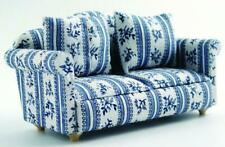 Dolls House Furniture: Blue & White Patterned Sofa in 12th scale
