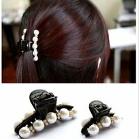 1X Elegant Pearl Flower Crystal Hair Clip Rhinestone Women Hairpin Claw Headwear