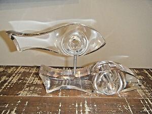 Rare Vtg 1970s Ritts Astrolite 2 Swimming Fish Lucite Sculpture Modern Regency