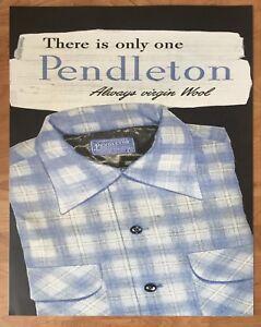 """Pendleton Woolen Mills Advertising Store Display Poster 22"""" x 28"""" Board Shirt"""