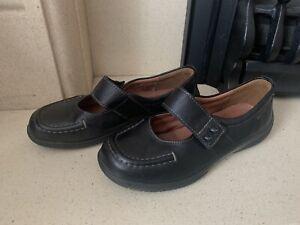Hotter Starshine Black Leather Mary Jane Shoes Size 6 EXF