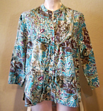 New direction Women's Size L Floral Beaded Tunic Blouse Turquoise