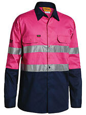 Bisley Mens Work Shirt Sz XL 105cm Yellow/navy Silver Reflect Strip Upf50