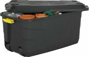 Really Useful 145 Litre Black Heavy Duty Storage Trunk On Wheels Garden Home NEW