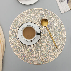 Heat-Resistant Kitchen Dining Placemat PVC Table Runner Mat Round Non-Slip