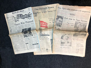 1968 DETROIT NEWS/FREE PRESS PAPERS-DETROIT TIGERS WIN PENNANT-9/18/1968