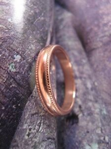 Solid Copper Band Ring CR84T - 4mm wide- Size 5 thru 10 - Made in the USA