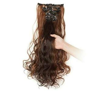 """24""""-26"""" Clip in Hair Extensions Curly-24 Inch 130g Dark Brown Mix Light Auburn"""