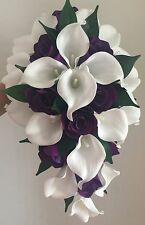 Wedding Bouquet - White Real Touch Calla lillies and purple silk roses Brides