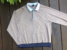 Vtg Jockey 80's Brown L/S Striped Trim Bands Polo Shirt Usa Made Men's Large