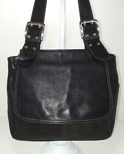 Tignanello vintage black durable leather medium shoulder bag purse