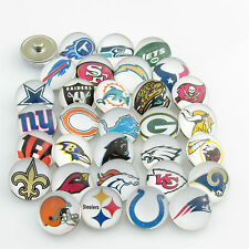 160pcs/lot(5pcs each team) NFL Team Logo Football Sport 18mm Glass Snaps Button