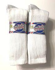 9 Pair Men's White Extra Soft Green Seam Work/Sport Crew Sock Size13-15.