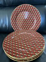 """4 Rare Fitz and Floyd BASKETRY #416 Dinner Plates Set of 6 BEAUTIFUL 10 1/4"""""""