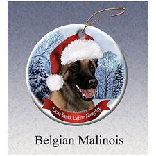 Belgian Malinois Howliday Porcelain China Dog Christmas Ornament