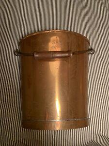 Vintage Copper Bucket Pail Pot Planter Metal Handle Rustic