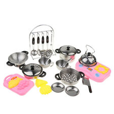 Kitchen Pretend Cooking Toy 27pcs Stainless Steel Cookware Playset for Kids