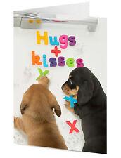 Hugs & Kisses Perritos organizar mensaje en nevera Cumpleaños el día de madre Tarjeta