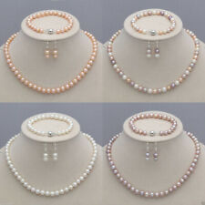 Real Natural 7-8mm Freshwater Pearl Necklace Bracelet Earrings Jewelry Set