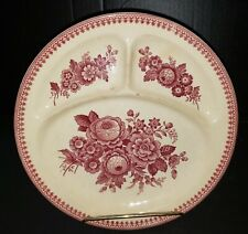 Antique Vintage Villeroy & Boch Mettlach Saar Basin Red Floral  Divided Plate