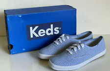 NEW! KEDS CHAMPION SEERSUCKER PRINT CHAMBRAY BLUE SHOES SNEAKERS 7 37.5 SALE