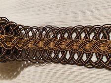 1yd KRAVET COUTURE Romeo's Banding Sepia Metal Bead Braid Passementerie Trim BTY