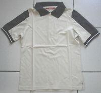 Catago  Kurzarm Poloshirt, Creme mit blau, Gr. S