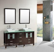 60 inch double sink wood bathroom vanity espresso free standing cabinet 138