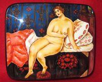 """Rusa Laqueado Caja Pintado a Mano Kustodiev Carne """"La Belle"""" 1915 Papel Maché"""