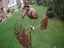 GIARDINO spirale in dissolvenza Metallo Giardino Figure attrazione UCCELLI vento gioco corvo con occhiali