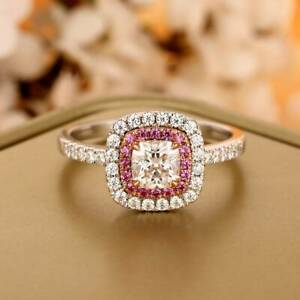 Cushion Cut 5mm Round Cut Double Halo Style For Women Pink Sapphire Accents Ring