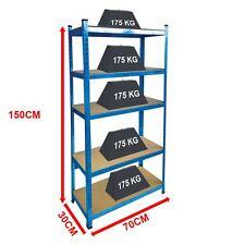 5 Tier Shelf Shelving Unit Racking Boltless Industrial Storage Shelves Blue