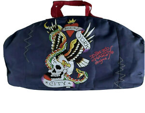 Don Ed Hardy Designs New York City Heart Skull Eagle Duffel Gym Bag Navy Tattoo