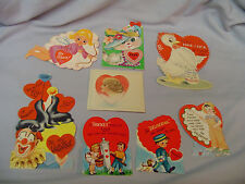 """Valentines Cards 8 In Mixed Lot #12 Some Signed 6.5"""" To 3.25"""" Tall 1950's"""