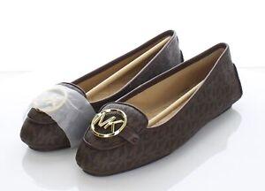 N9 NEW $99 Women's Sz 8.5 W Michael Kors Lillie Moc Faux Leather Monogram Flats