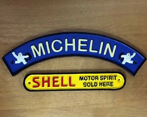 Michelin Man + Shell Signs  Cast Iron Repro Garage Plaques *1 Only*