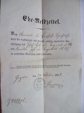 Ehe-Meldzettel Oberamt Herrschaft Böhmisch-Aicha 1842