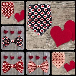 Hand Made cotton ❤️ Heart Bow tie /Bandana (available as a Set)