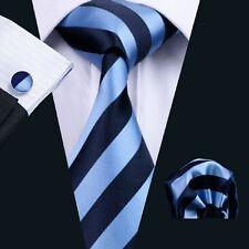 Classic Navy Blue Mens Tie Stripe Silk Jaquard Necktie Set Hanky Cufflinks C-285