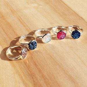 Druzy Silver Pink Glitter Plated Gemstone Signet Ring. Boho Topshop Jewellery