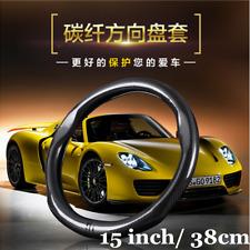 "1x 15"" 38cm Carbon Fiber Car Truck Steering Wheel Cover Protector Anti-slip"