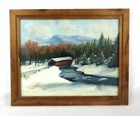 Vintage Oil Painting Winifred W Compton Covered Bridge Mountain Landscape Signed