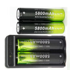 4X 18650Battery 3.7V li-ion Rechargeable Battery 1X Charger For LED Flashlight