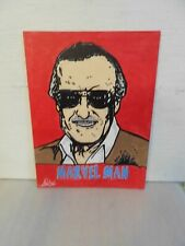 "Stan Lee-Marvel Man Painting Acrylic On Canvas Panel 12"" X 16"""