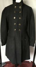 Crew Ladies Funnel Neck Fitted Grey/Black Fitted Coat EUC Size 12 Pocket Details