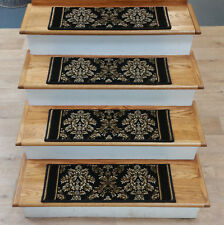 "Rug Depot 13 Damask Non Slip Carpet Stair Treads 26"" x 9"" Black Stair Rugs"