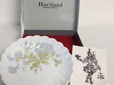 HAVILAND LIMOGES Berry Bowl Demitasse Saucer Gold Floral blue & Green France