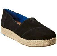 Toms Alpargata Platform Black Suede Women's Shoes, Leather, US 7 M, EUC
