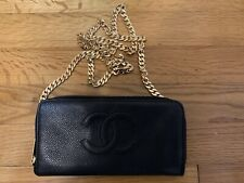 100% AUTH CHANEL BLACK CAVIAR LEATHER WALLET ON CHAIN WOC BAG GOLD HARDWARE